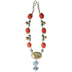 Antiques Bakelite Turquoise Bronze Enamel Necklace
