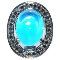 Mystical Aquamarine Cabochon Ring with Black Diamonds in Blackened White Gold