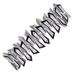 Dynamite Enamel Shattered 18 Karat White Gold and White Diamond Bracelet