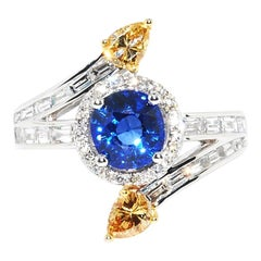 Unique Ceylon Sapphire and Yellow Diamond Fashion Ring in 18 Karat White Gold