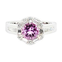 Natural Pink Topaz and Diamond Custom Ring in 14 Karat White Gold