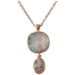 Dalben Design Australian Boulder Opal and Rose Gold Necklace