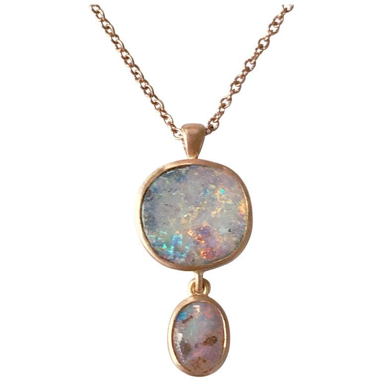Dalben Design Australian Boulder Opal and Rose Gold Necklace For Sale