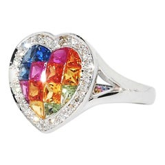 Multi-Color Sapphire and Diamond Heart Shaped Ring in 18 Karat White Gold