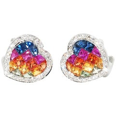 Muti-Color Sapphire and Diamond Heart Shaped Earrings in 18 Karat White Gold