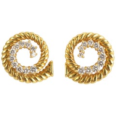 Jean Vitau Gold and Diamond Coil Earrings