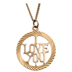 1960s Vintage Gold Charm Love Token Circle Round Pendant i Love You Lettering