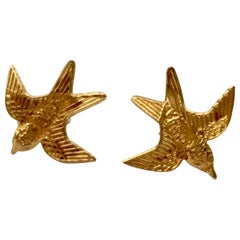 Vintage Gold Earrings Bird Swallow Studs