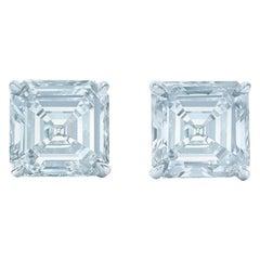 1 Carat Asscher Cut Diamond Stud Earrings 18 Karat White Gold