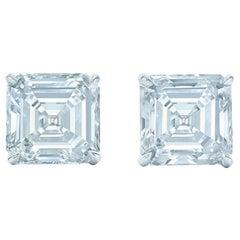 2 Carat Asscher Cut Diamond Stud Earrings 18 Karat White Gold