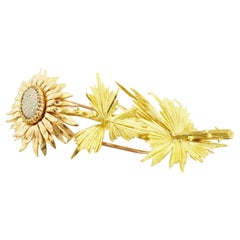 Cartier 18 Karat Yellow Gold Pink Gold Sunflower Brooch