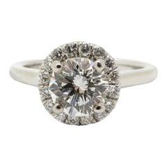 Estate Gabriel & Co. Decagon 14 Karat Gold Diamond Round Halo Engagement Ring