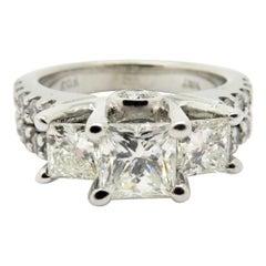 Estate 14 Karat White Gold Princess Cut and Round Diamond Engagement Ring
