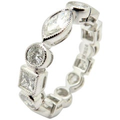 Estate 18 Karat White Gold Multi shape Diamond Eternity Band Ring