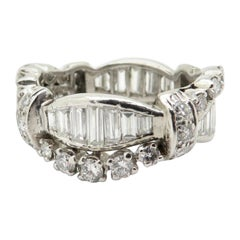Platinum Antique Multi Shape Retro Style Diamond Band Ring