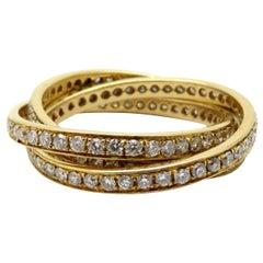 Estate 18 Karat Yellow Gold Three Band Diamond Ring Wedding Set