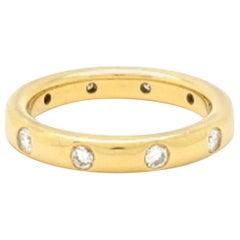 Estate 18 Karat Yellow Gold Round Diamond Gypsy Set Band Ring