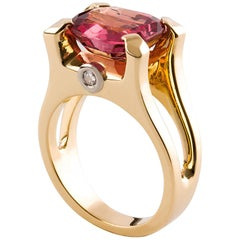 Kian Design 18 Carat Three Stones 6.5 Carat Cushion Pink Spinle Diamond Ring