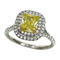Tiffany & Co. Soleste 1.21 Carat Yellow Diamond Platinum 18 Karat Gold Ring