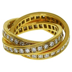 Cartier 18 Karat Yellow Gold Diamond 3-Row Trinity Ring