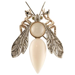 Coral, Diamonds, Moonstone, White and Rose Gold Dragonfly Brooch