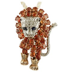 Sapphires, Diamonds, 14 Karat Rose and White Gold Lion Brooch