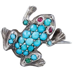 Antique Victorian Turquoise Frog Brooch Silver, circa 1900