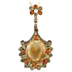Topaz, Diamonds, Multi-Color Sapphires, Pearl, Gold and Silver Retro Pendant