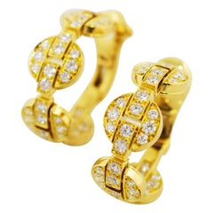 Cartier Himalia Diamond 18 Karat Yellow Gold Stud Earrings
