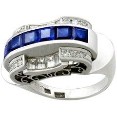 Antique 1.20 Carat Sapphire and Diamond Platinum Cocktail Ring Circa 1935