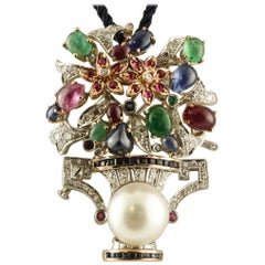 Australian Pearl, Diamonds, Rubies, Emeralds, Blue Sapphires Flowers Vase Brooch
