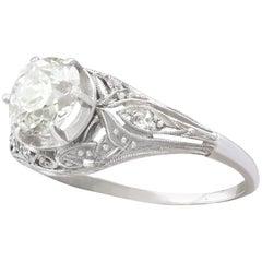Vintage 1.01 Carat Diamond and Platinum Solitaire Ring Circa 1940
