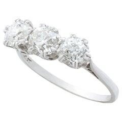 Antique 1.91 Carat Diamond and Platinum Trilogy Ring Circa 1920