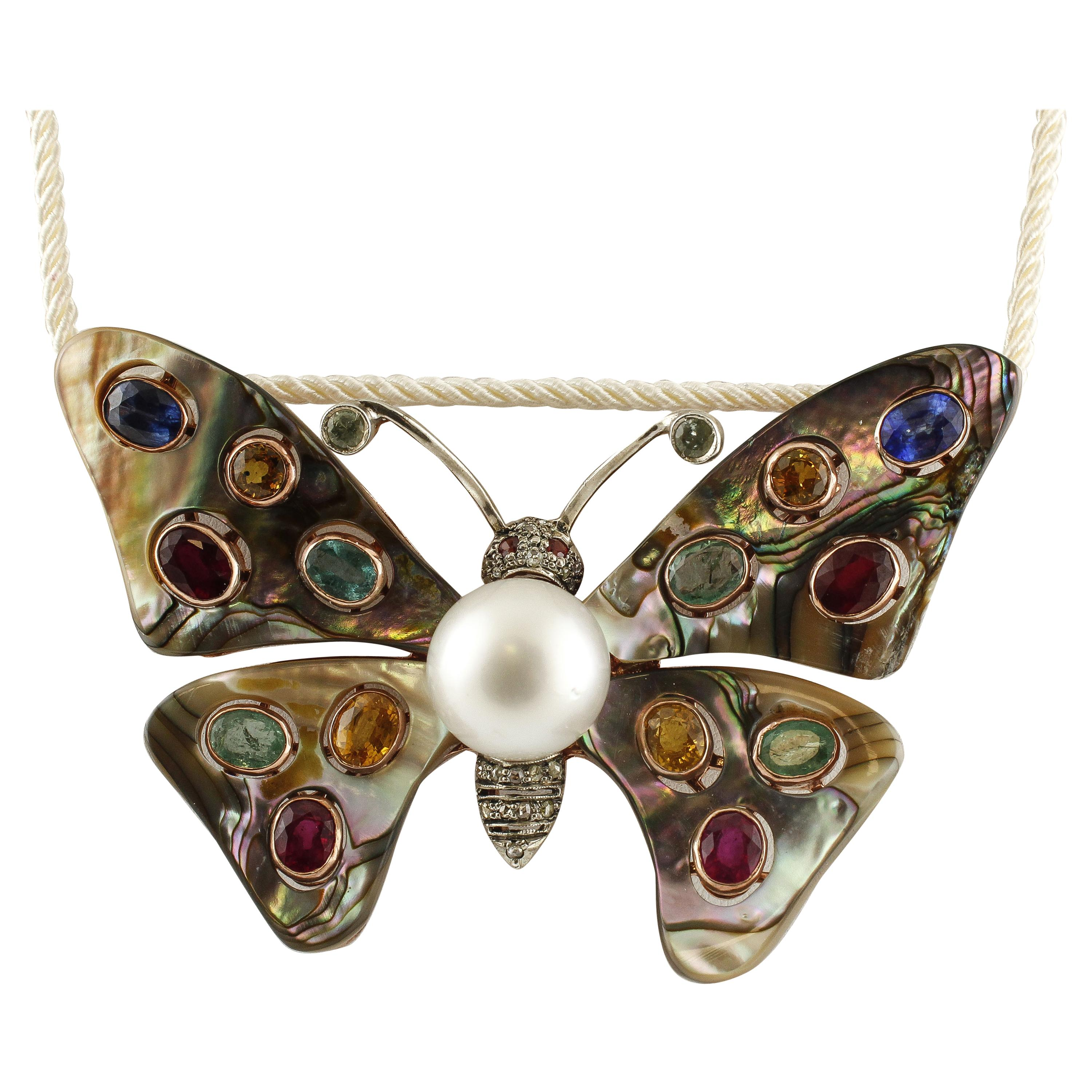 Australian Pearl, Diamonds, Emeralds, Rubies, Sapphires, Retro Butterfly Brooch