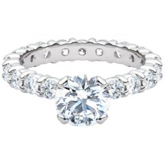 1.50 Round Cut Diamond GIA Certified Engagement Eternity Band 950 Platinum