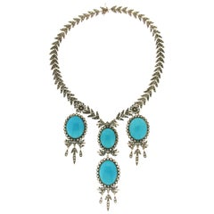 Turquoise 14 Karat Yellow Gold and Silver Diamonds Choker Necklace