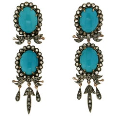 Turquoise, 14 Karat Yellow Gold and Silver, Diamonds, Drop Earrings