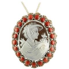 Carved Cameo, Rubrum Coral, Diamonds, Sapphires, Unique Retro Brooch