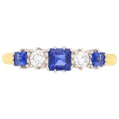 Edwardian Sapphire and Diamond Five-Stone Ring, circa 1910