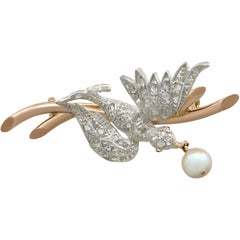 Antique Victorian Diamond and Pearl Ruby and Yellow Gold Bird Brooch, 1890