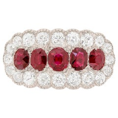 Late Victorian Ruby and Diamond Cluster Dress Ring, circa 1910