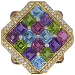 Bulgari 18 Carat Yellow Gold Multi-Gem and Diamond Carré Brooch