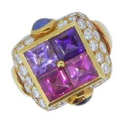 Bulgari Multi-Gem and Diamond Gold  Carré Ring