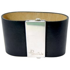 Pomellato 67 Silver and Cuff Bracelet Leather Bracelet