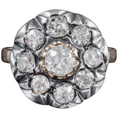 Antique Georgian Old Cut Diamond Cluster Ring 18 Carat Gold Silver, circa 1830