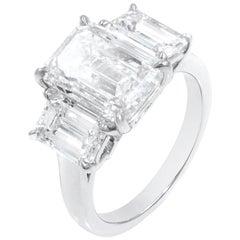 Three-Stone Diamond Engagement Ring in Platinum 6.15 Carat