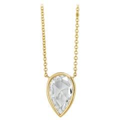 2.38 Carat Botswana Rose Cut Diamond Pendant Necklace