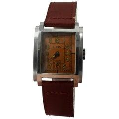 Art Deco Gents Wristwatch by Lov/ Never Worn, circa 1930