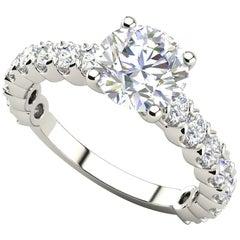 1 Round Cut Diamond GIA Certified Engagement Band 950 Platinum