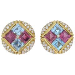 Bulgari 18 Carat Yellow Gold Multi-Gem and Diamond Carré Earrings Earclips